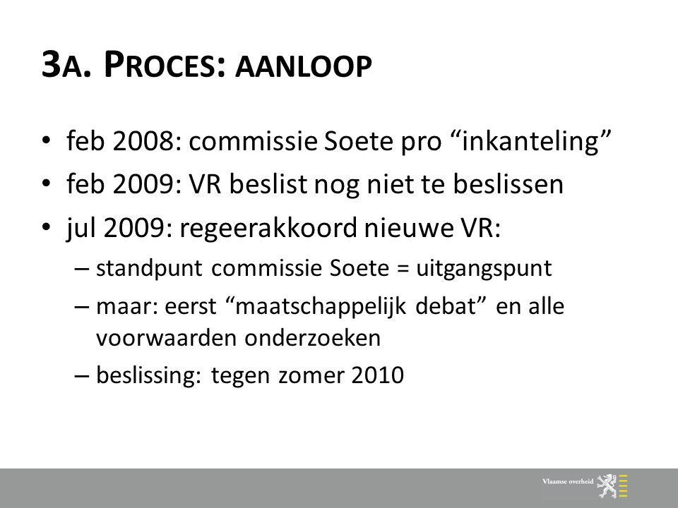 """3 A. P ROCES : AANLOOP feb 2008: commissie Soete pro """"inkanteling"""" feb 2009: VR beslist nog niet te beslissen jul 2009: regeerakkoord nieuwe VR: – sta"""
