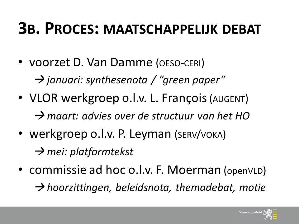"""3 B. P ROCES : MAATSCHAPPELIJK DEBAT voorzet D. Van Damme ( OESO - CERI )  januari: synthesenota / """"green paper"""" VLOR werkgroep o.l.v. L. François ("""