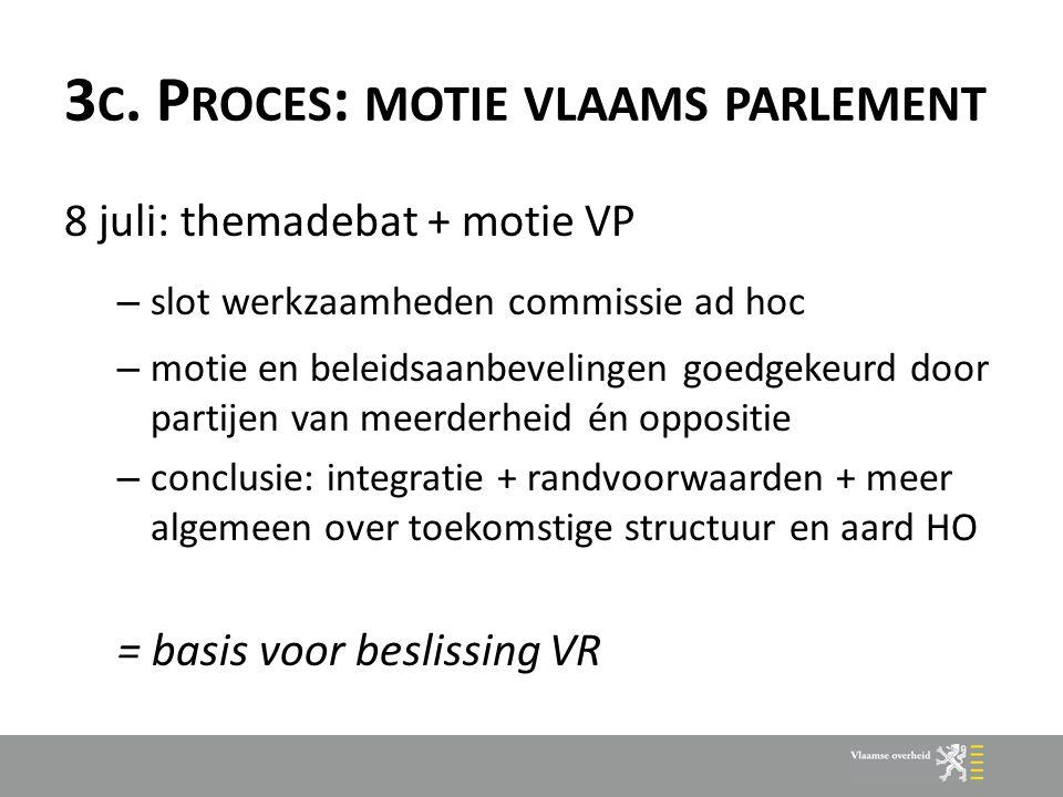 3 C. P ROCES : MOTIE VLAAMS PARLEMENT 8 juli: themadebat + motie VP – slot werkzaamheden commissie ad hoc – motie en beleidsaanbevelingen goedgekeurd