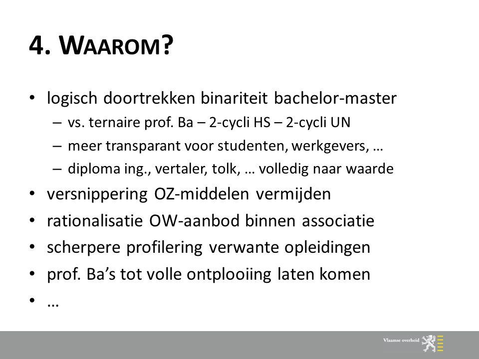 4. W AAROM ? logisch doortrekken binariteit bachelor-master – vs. ternaire prof. Ba – 2-cycli HS – 2-cycli UN – meer transparant voor studenten, werkg