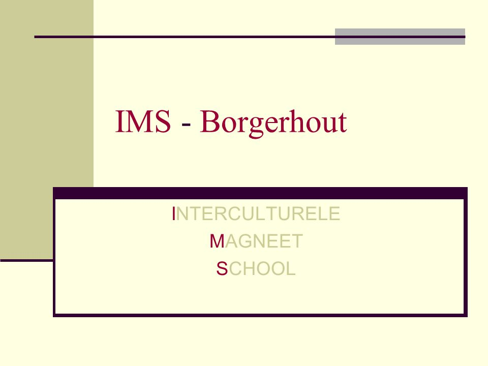 IMS - Borgerhout INTERCULTURELE MAGNEET SCHOOL