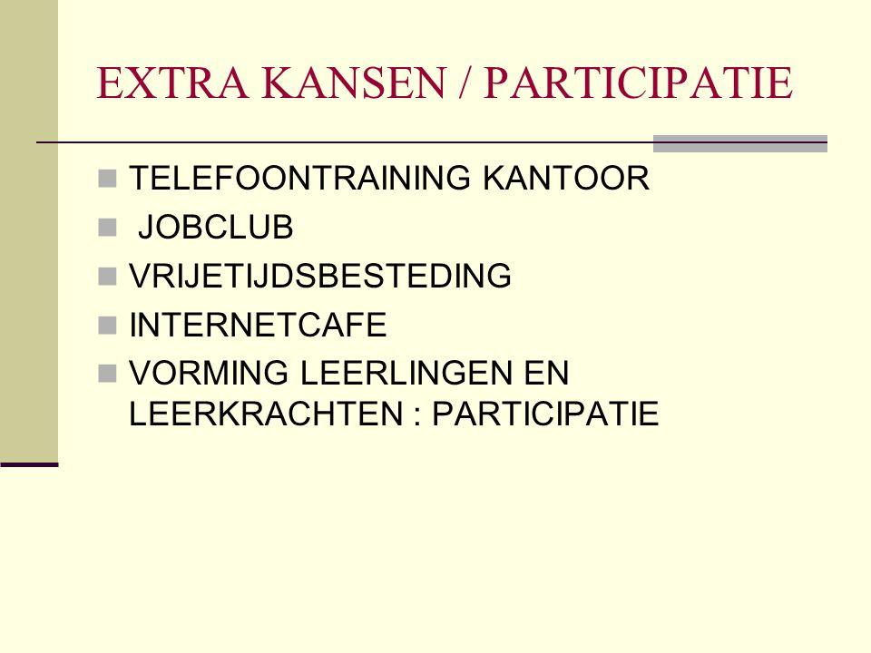 EXTRA KANSEN / PARTICIPATIE TELEFOONTRAINING KANTOOR JOBCLUB VRIJETIJDSBESTEDING INTERNETCAFE VORMING LEERLINGEN EN LEERKRACHTEN : PARTICIPATIE