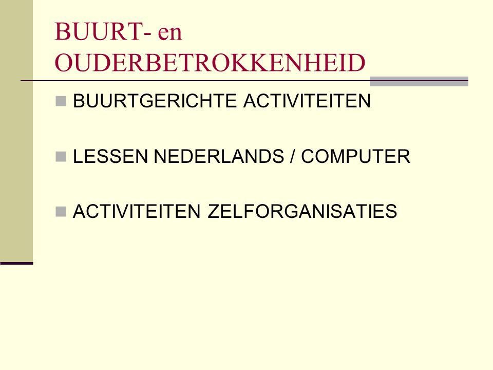 BUURT- en OUDERBETROKKENHEID BUURTGERICHTE ACTIVITEITEN LESSEN NEDERLANDS / COMPUTER ACTIVITEITEN ZELFORGANISATIES