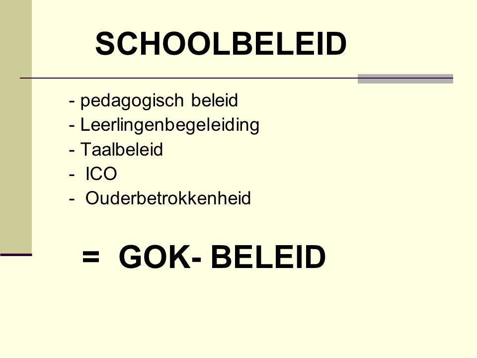 SCHOOLBELEID - pedagogisch beleid - Leerlingenbegeleiding - Taalbeleid - ICO - Ouderbetrokkenheid = GOK- BELEID