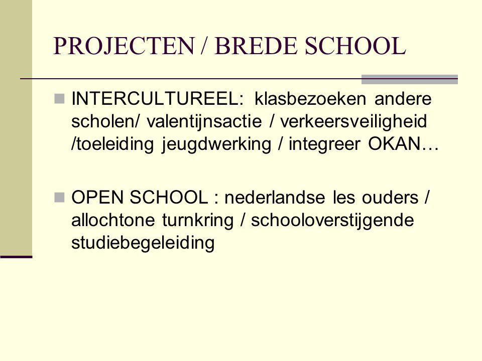 PROJECTEN / BREDE SCHOOL INTERCULTUREEL: klasbezoeken andere scholen/ valentijnsactie / verkeersveiligheid /toeleiding jeugdwerking / integreer OKAN… OPEN SCHOOL : nederlandse les ouders / allochtone turnkring / schooloverstijgende studiebegeleiding