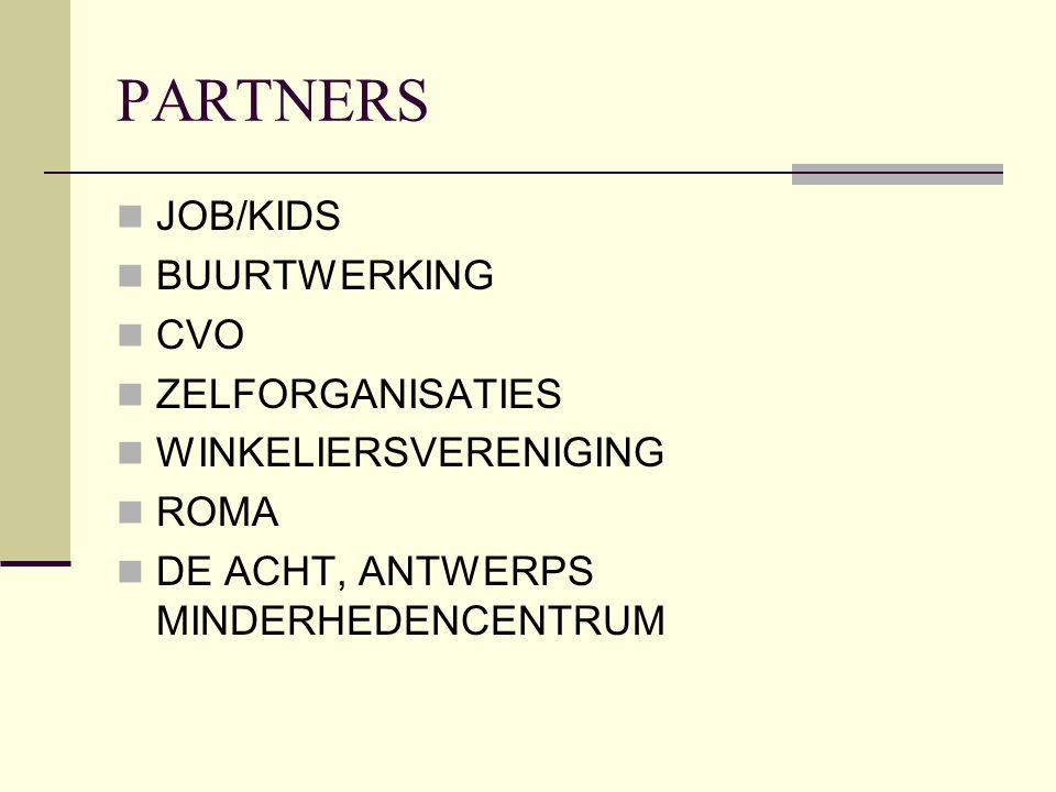 PARTNERS JOB/KIDS BUURTWERKING CVO ZELFORGANISATIES WINKELIERSVERENIGING ROMA DE ACHT, ANTWERPS MINDERHEDENCENTRUM
