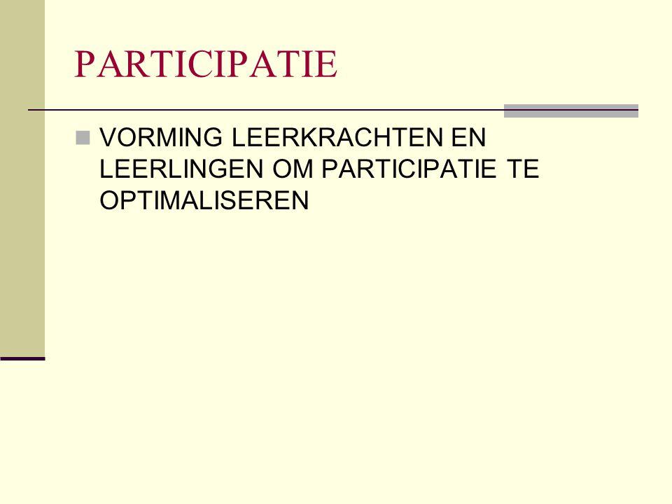 PARTICIPATIE VORMING LEERKRACHTEN EN LEERLINGEN OM PARTICIPATIE TE OPTIMALISEREN