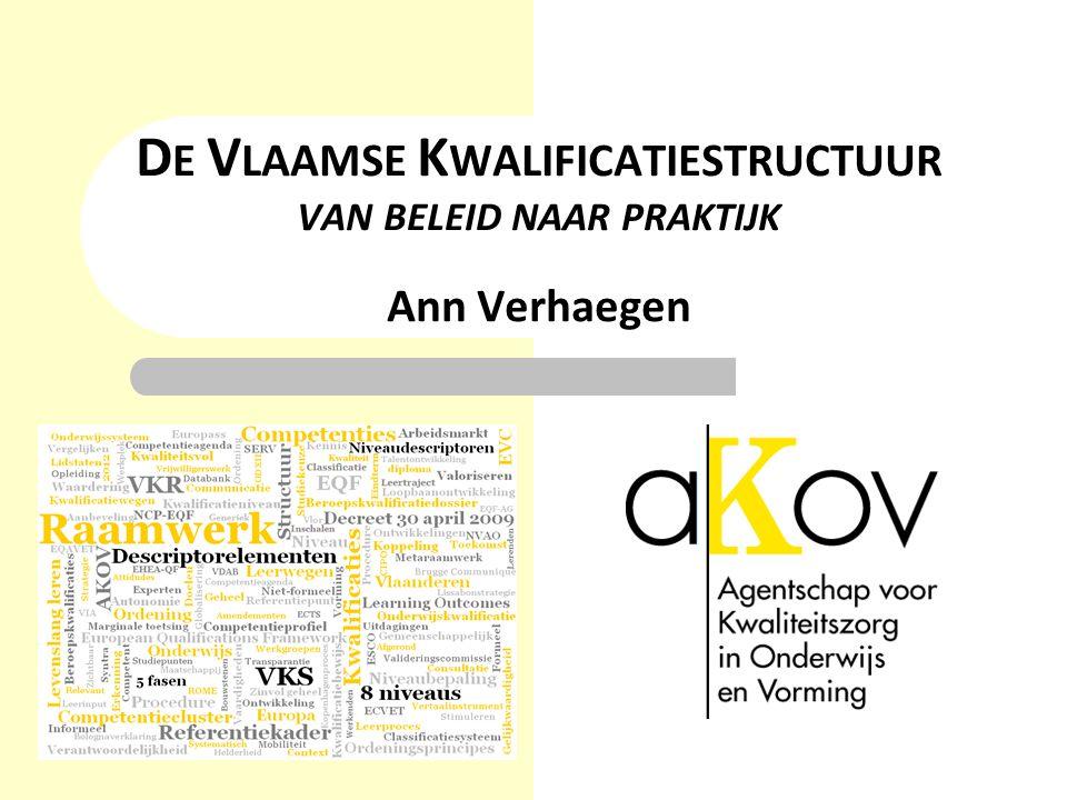 D E V LAAMSE K WALIFICATIESTRUCTUUR VAN BELEID NAAR PRAKTIJK Ann Verhaegen