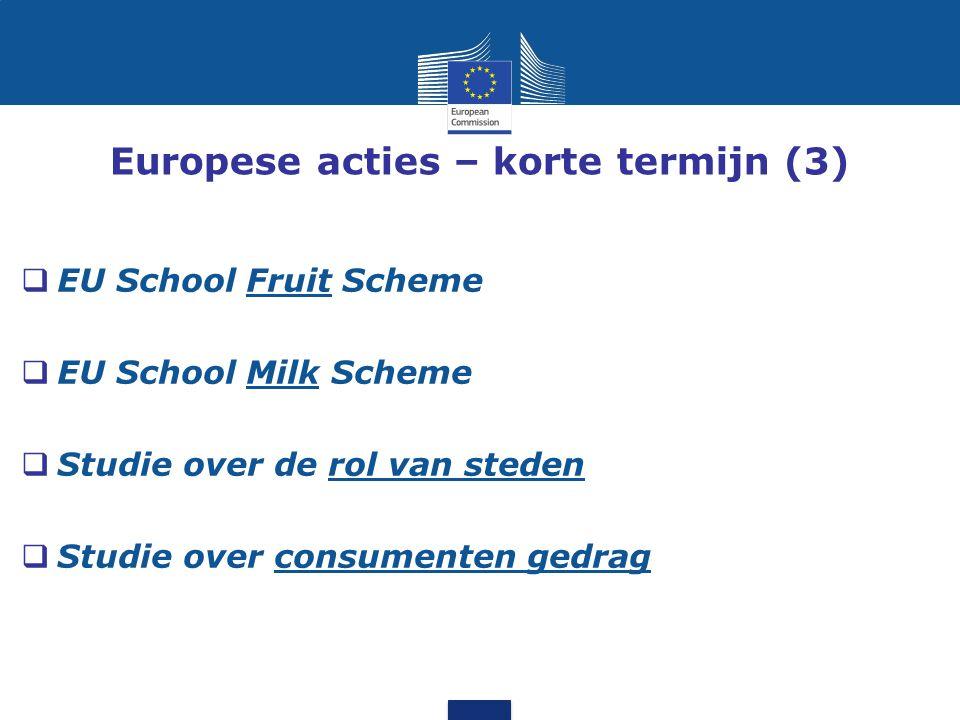 Europese acties – korte termijn (3)  EU School Fruit Scheme  EU School Milk Scheme  Studie over de rol van steden  Studie over consumenten gedrag