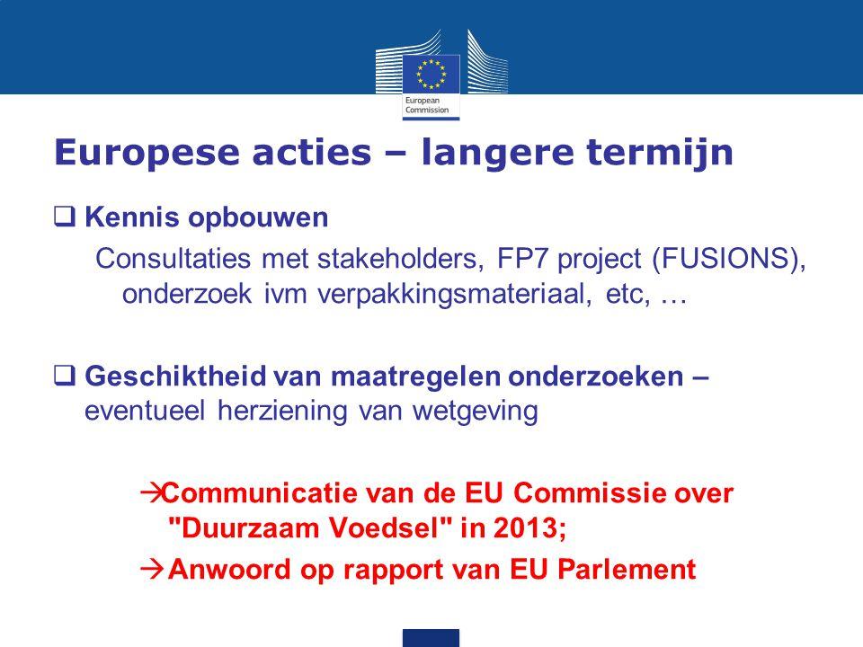 Europese acties – langere termijn  Kennis opbouwen Consultaties met stakeholders, FP7 project (FUSIONS), onderzoek ivm verpakkingsmateriaal, etc, … 
