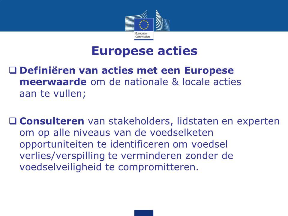 Europese acties  Definiëren van acties met een Europese meerwaarde om de nationale & locale acties aan te vullen;  Consulteren van stakeholders, lid