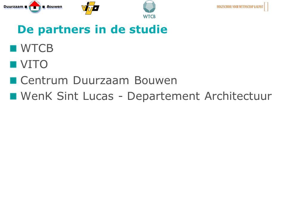 De partners in de studie WTCB VITO Centrum Duurzaam Bouwen WenK Sint Lucas - Departement Architectuur 14