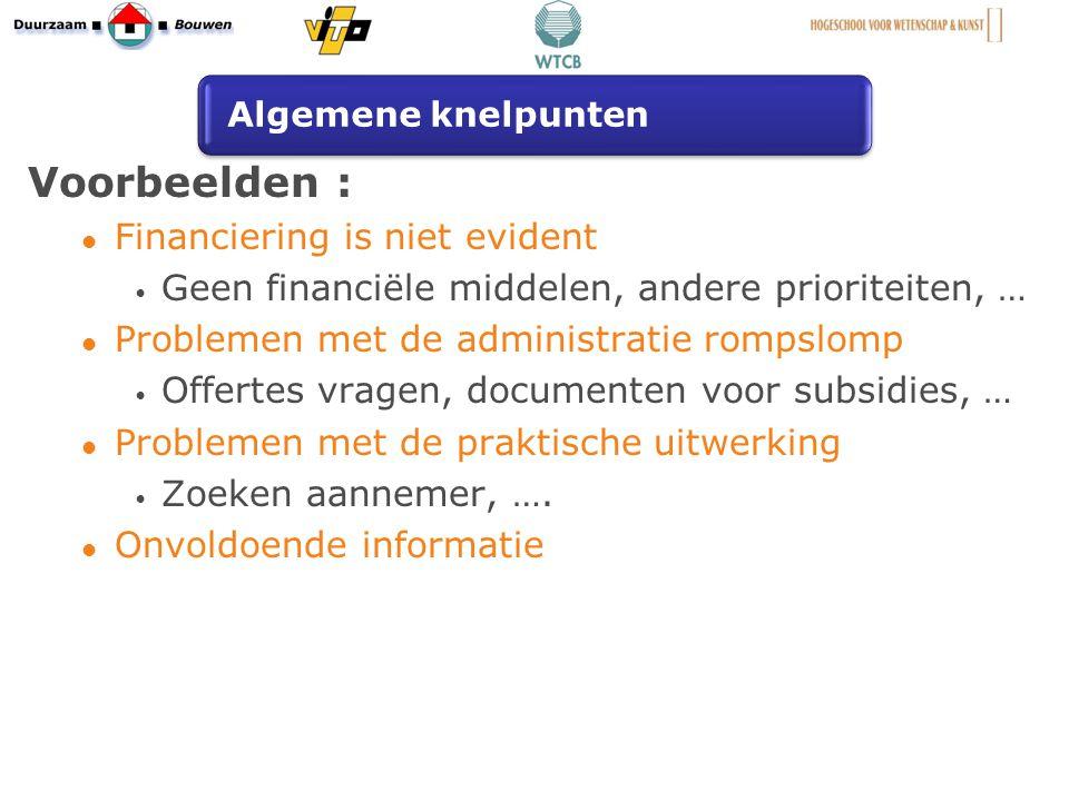 Voorbeelden : Financiering is niet evident Geen financiële middelen, andere prioriteiten, … Problemen met de administratie rompslomp Offertes vragen, documenten voor subsidies, … Problemen met de praktische uitwerking Zoeken aannemer, ….
