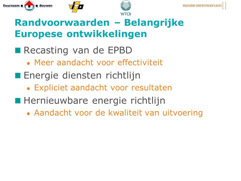 Randvoorwaarden – Belangrijke Europese ontwikkelingen Recasting van de EPBD Meer aandacht voor effectiviteit Energie diensten richtlijn Expliciet aandacht voor resultaten Hernieuwbare energie richtlijn Aandacht voor de kwaliteit van uitvoering 5