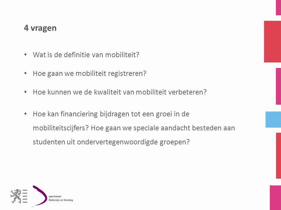 4 vragen Wat is de definitie van mobiliteit.Hoe gaan we mobiliteit registreren.