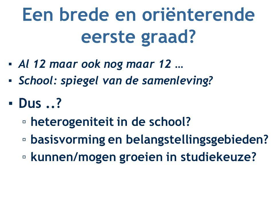 Een brede en oriënterende eerste graad? ▪Al 12 maar ook nog maar 12 … ▪School: spiegel van de samenleving? ▪Dus..? ▫heterogeniteit in de school? ▫basi