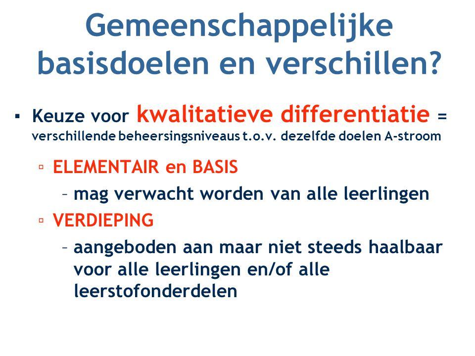 Gemeenschappelijke basisdoelen en verschillen? ▪Keuze voor kwalitatieve differentiatie = verschillende beheersingsniveaus t.o.v. dezelfde doelen A-str