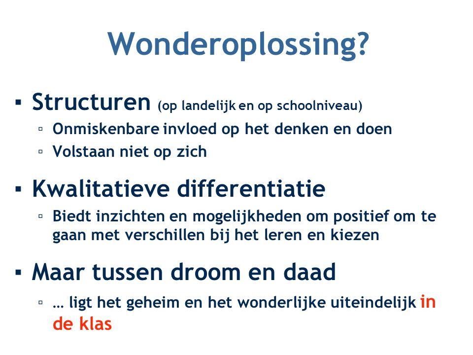 Wonderoplossing? ▪Structuren (op landelijk en op schoolniveau) ▫Onmiskenbare invloed op het denken en doen ▫Volstaan niet op zich ▪Kwalitatieve differ