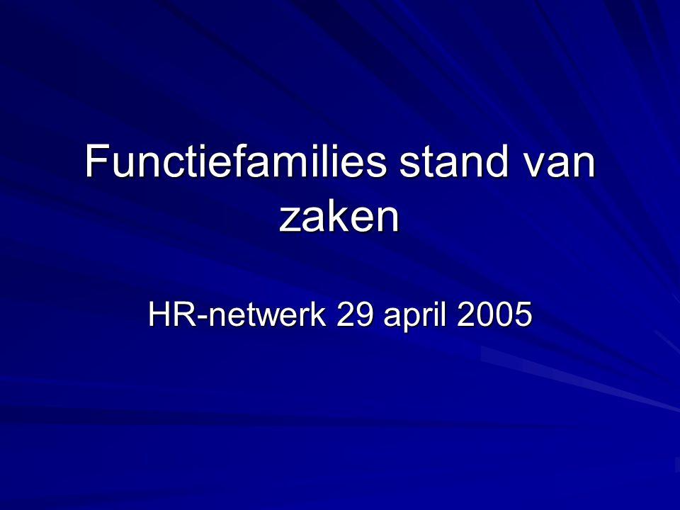 Functiefamilies stand van zaken HR-netwerk 29 april 2005