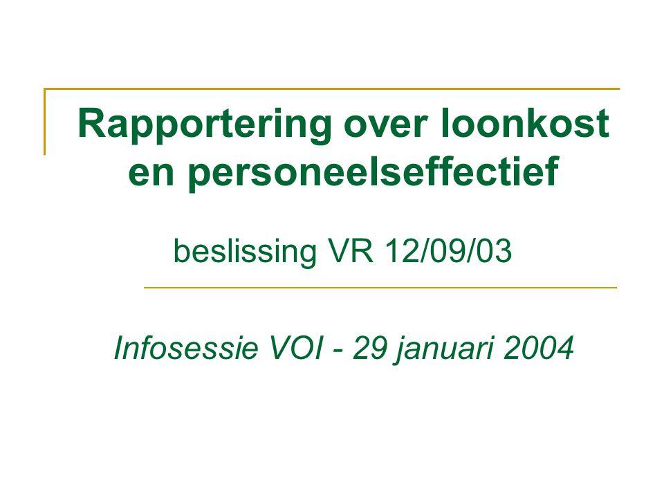 Rapportering over loonkost en personeelseffectief beslissing VR 12/09/03 Infosessie VOI - 29 januari 2004