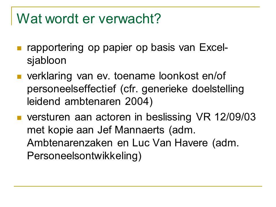 Wat wordt er verwacht. rapportering op papier op basis van Excel- sjabloon verklaring van ev.