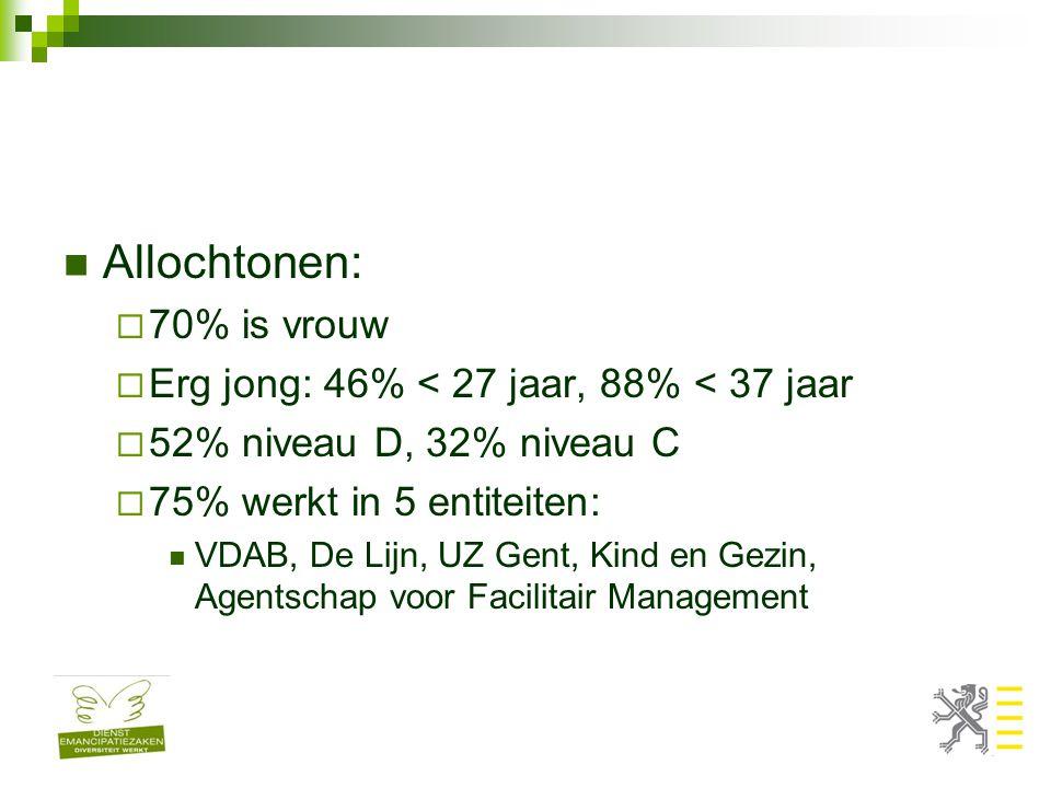 Allochtonen:  70% is vrouw  Erg jong: 46% < 27 jaar, 88% < 37 jaar  52% niveau D, 32% niveau C  75% werkt in 5 entiteiten: VDAB, De Lijn, UZ Gent, Kind en Gezin, Agentschap voor Facilitair Management