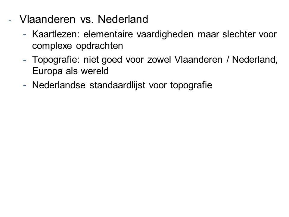 - Vlaanderen vs. Nederland -Kaartlezen: elementaire vaardigheden maar slechter voor complexe opdrachten -Topografie: niet goed voor zowel Vlaanderen /