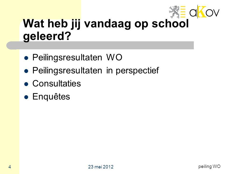 peiling WO Wat heb jij vandaag op school geleerd? Peilingsresultaten WO Peilingsresultaten in perspectief Consultaties Enquêtes 23 mei 2012 4