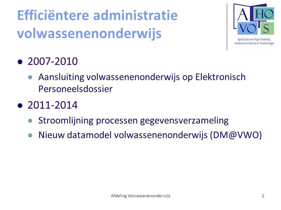 Afdeling Volwassenenonderwijs2 Efficiëntere administratie volwassenenonderwijs 2007-2010 Aansluiting volwassenenonderwijs op Elektronisch Personeelsdo