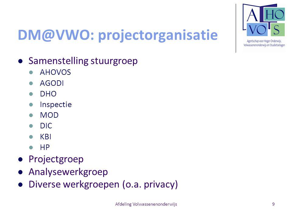 Afdeling Volwassenenonderwijs9 DM@VWO: projectorganisatie Samenstelling stuurgroep AHOVOS AGODI DHO Inspectie MOD DIC KBI HP Projectgroep Analysewerkg