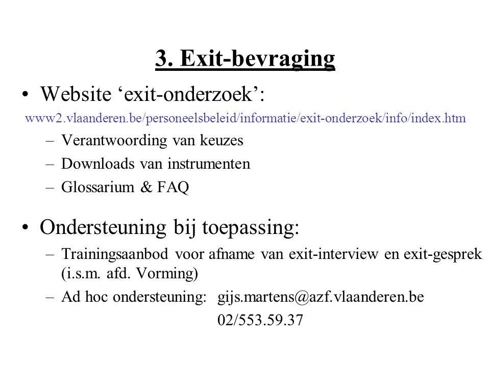Website 'exit-onderzoek': www2.vlaanderen.be/personeelsbeleid/informatie/exit-onderzoek/info/index.htm –Verantwoording van keuzes –Downloads van instrumenten –Glossarium & FAQ Ondersteuning bij toepassing: –Trainingsaanbod voor afname van exit-interview en exit-gesprek (i.s.m.