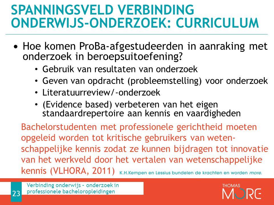 Hoe komen ProBa-afgestudeerden in aanraking met onderzoek in beroepsuitoefening? Gebruik van resultaten van onderzoek Geven van opdracht (probleemstel