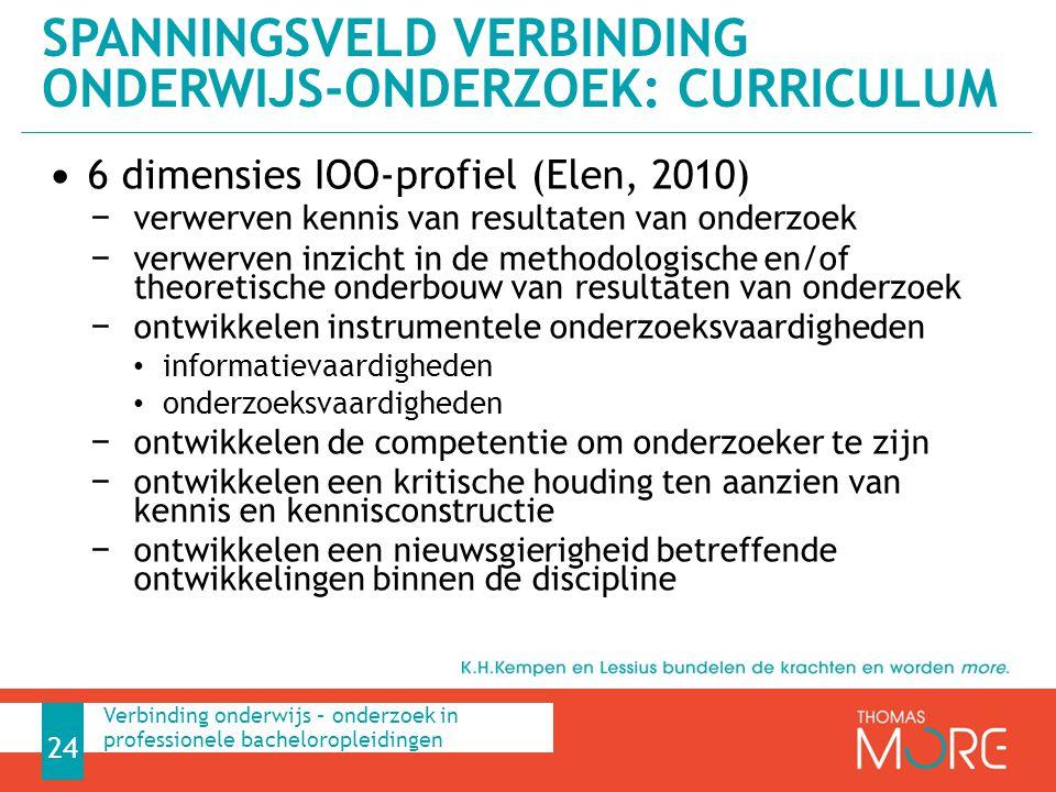 6 dimensies IOO-profiel (Elen, 2010) − verwerven kennis van resultaten van onderzoek − verwerven inzicht in de methodologische en/of theoretische onde