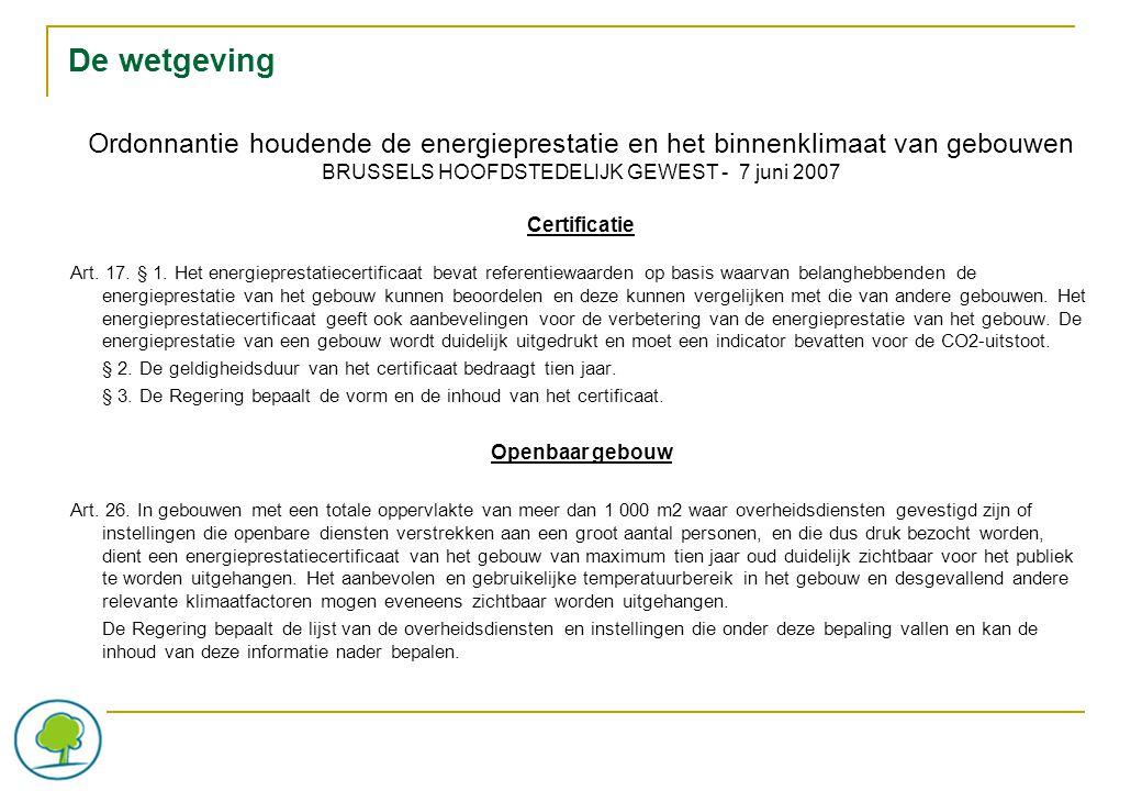 Ordonnantie houdende de energieprestatie en het binnenklimaat van gebouwen BRUSSELS HOOFDSTEDELIJK GEWEST - 7 juni 2007 Certificatie Art.