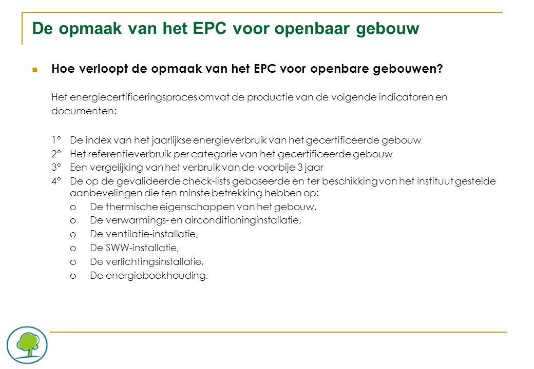 De opmaak van het EPC voor openbaar gebouw Hoe verloopt de opmaak van het EPC voor openbare gebouwen.