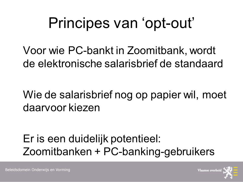 Principes van 'opt-out' Voor wie PC-bankt in Zoomitbank, wordt de elektronische salarisbrief de standaard Wie de salarisbrief nog op papier wil, moet daarvoor kiezen Er is een duidelijk potentieel: Zoomitbanken + PC-banking-gebruikers