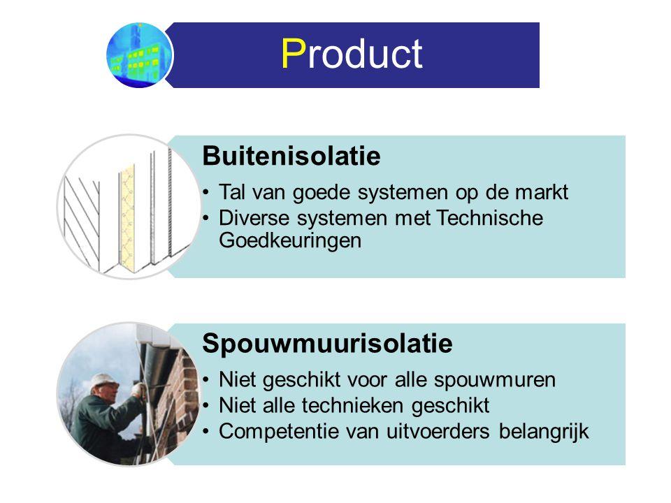 Product Buitenisolatie Tal van goede systemen op de markt Diverse systemen met Technische Goedkeuringen Spouwmuurisolatie Niet geschikt voor alle spou