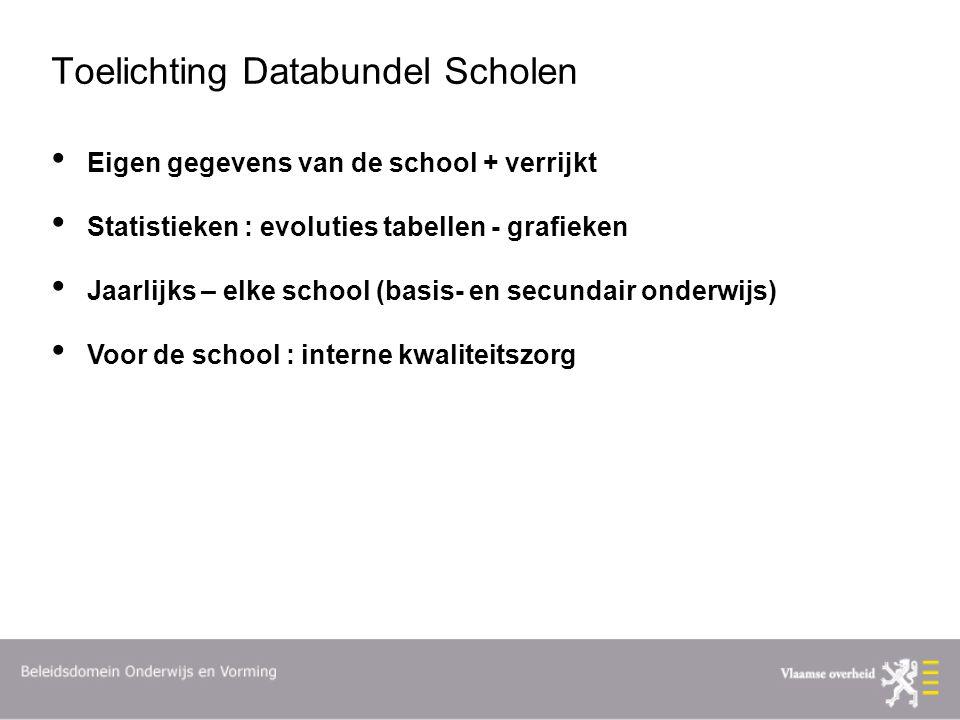 Toelichting Databundel Scholen Eigen gegevens van de school + verrijkt Statistieken : evoluties tabellen - grafieken Jaarlijks – elke school (basis- en secundair onderwijs) Voor de school : interne kwaliteitszorg