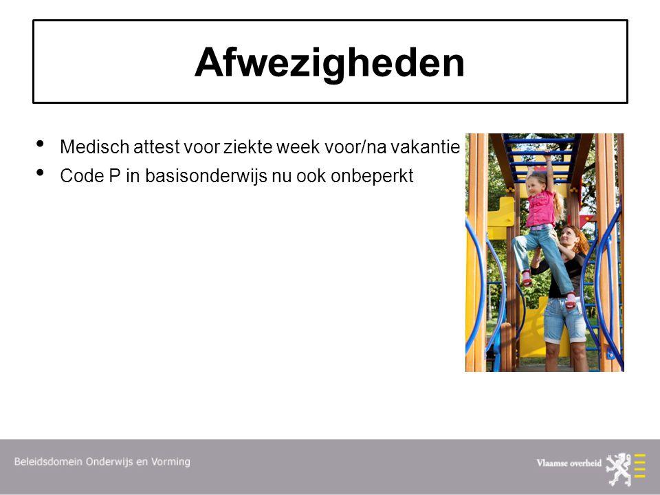 Afwezigheden Medisch attest voor ziekte week voor/na vakantie Code P in basisonderwijs nu ook onbeperkt