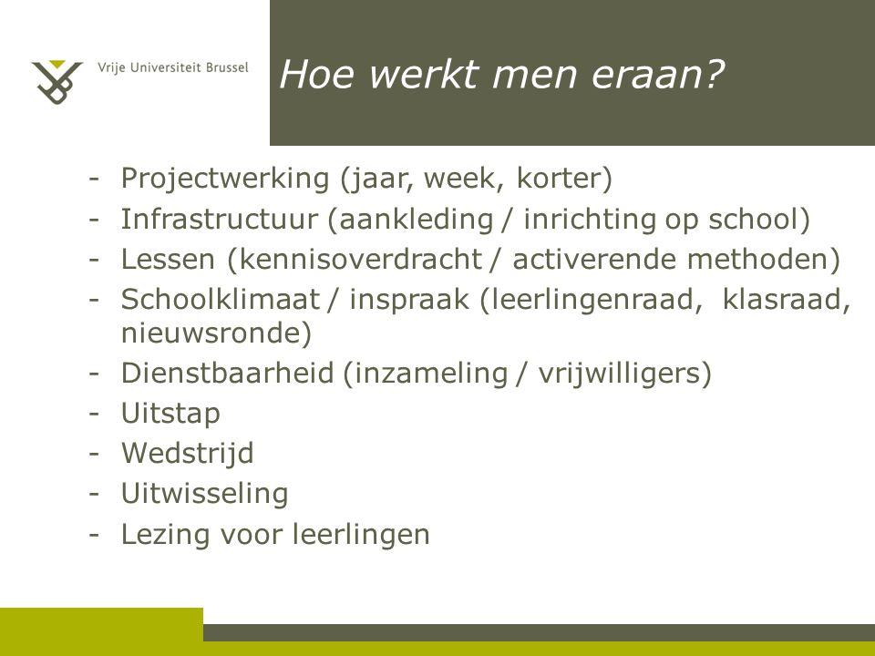 Hoe werkt men eraan? -Projectwerking (jaar, week, korter) -Infrastructuur (aankleding / inrichting op school) -Lessen (kennisoverdracht / activerende