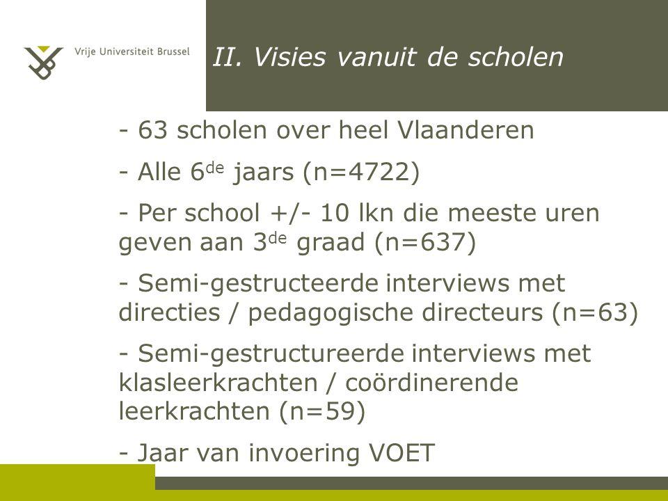 II. Visies vanuit de scholen - 63 scholen over heel Vlaanderen - Alle 6 de jaars (n=4722) - Per school +/- 10 lkn die meeste uren geven aan 3 de graad