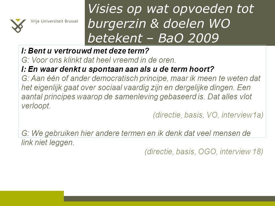 Visies op wat opvoeden tot burgerzin & doelen WO betekent – BaO 2009 I: Bent u vertrouwd met deze term? G: Voor ons klinkt dat heel vreemd in de oren.
