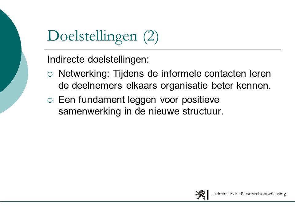 Administratie Personeelsontwikkeling Indirecte doelstellingen:  Netwerking: Tijdens de informele contacten leren de deelnemers elkaars organisatie beter kennen.