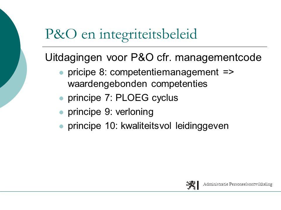 Administratie Personeelsontwikkeling P&O en integriteitsbeleid Uitdagingen voor P&O cfr.
