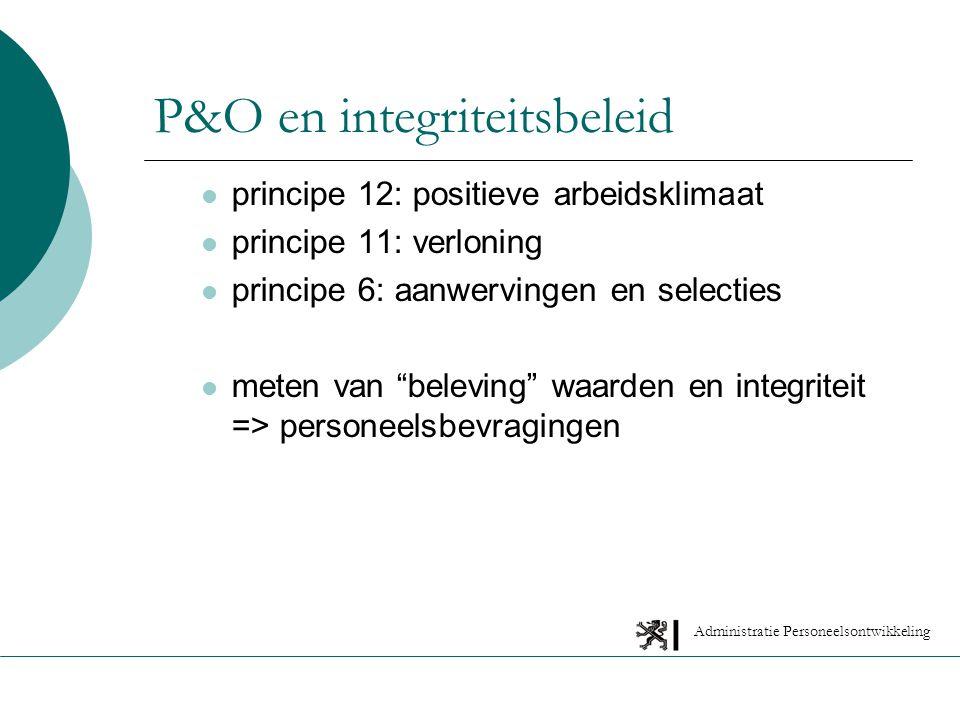 Administratie Personeelsontwikkeling P&O en integriteitsbeleid principe 12: positieve arbeidsklimaat principe 11: verloning principe 6: aanwervingen en selecties meten van beleving waarden en integriteit => personeelsbevragingen