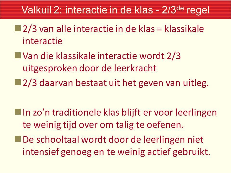 Valkuil 2: interactie in de klas - 2/3 de regel 2/3 van alle interactie in de klas = klassikale interactie Van die klassikale interactie wordt 2/3 uit