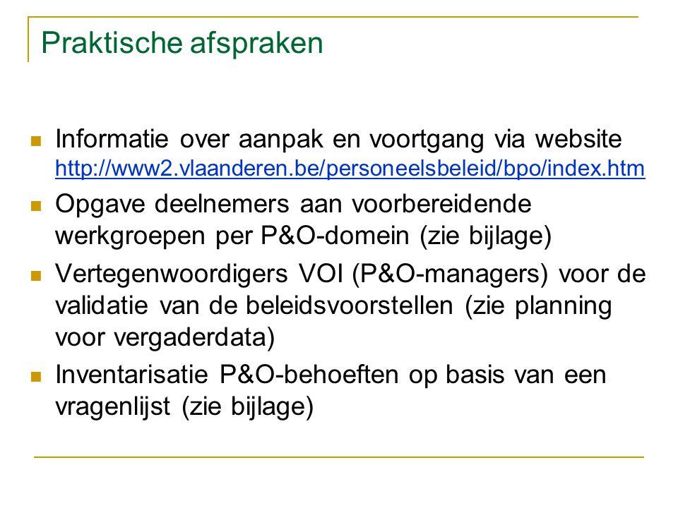 Praktische afspraken Informatie over aanpak en voortgang via website http://www2.vlaanderen.be/personeelsbeleid/bpo/index.htm Opgave deelnemers aan voorbereidende werkgroepen per P&O-domein (zie bijlage) Vertegenwoordigers VOI (P&O-managers) voor de validatie van de beleidsvoorstellen (zie planning voor vergaderdata) Inventarisatie P&O-behoeften op basis van een vragenlijst (zie bijlage)