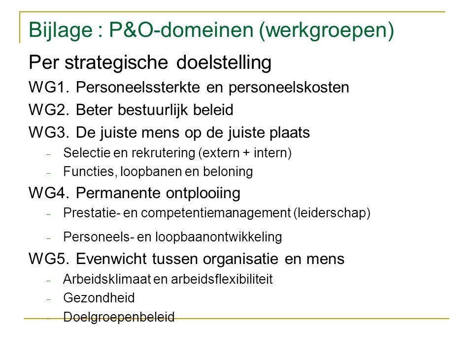 Bijlage : P&O-domeinen (werkgroepen) Per strategische doelstelling WG1.Personeelssterkte en personeelskosten WG2.Beter bestuurlijk beleid WG3.De juiste mens op de juiste plaats  Selectie en rekrutering (extern + intern)  Functies, loopbanen en beloning WG4.Permanente ontplooiing  Prestatie- en competentiemanagement (leiderschap)  Personeels- en loopbaanontwikkeling WG5.Evenwicht tussen organisatie en mens  Arbeidsklimaat en arbeidsflexibiliteit  Gezondheid  Doelgroepenbeleid