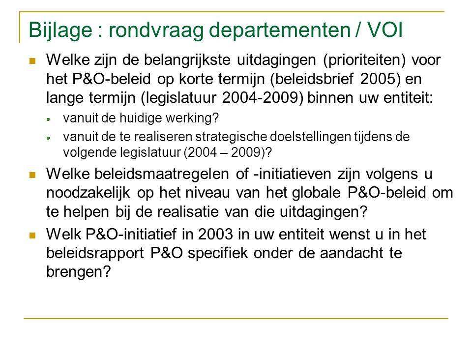 Bijlage : rondvraag departementen / VOI Welke zijn de belangrijkste uitdagingen (prioriteiten) voor het P&O-beleid op korte termijn (beleidsbrief 2005) en lange termijn (legislatuur 2004-2009) binnen uw entiteit:  vanuit de huidige werking.