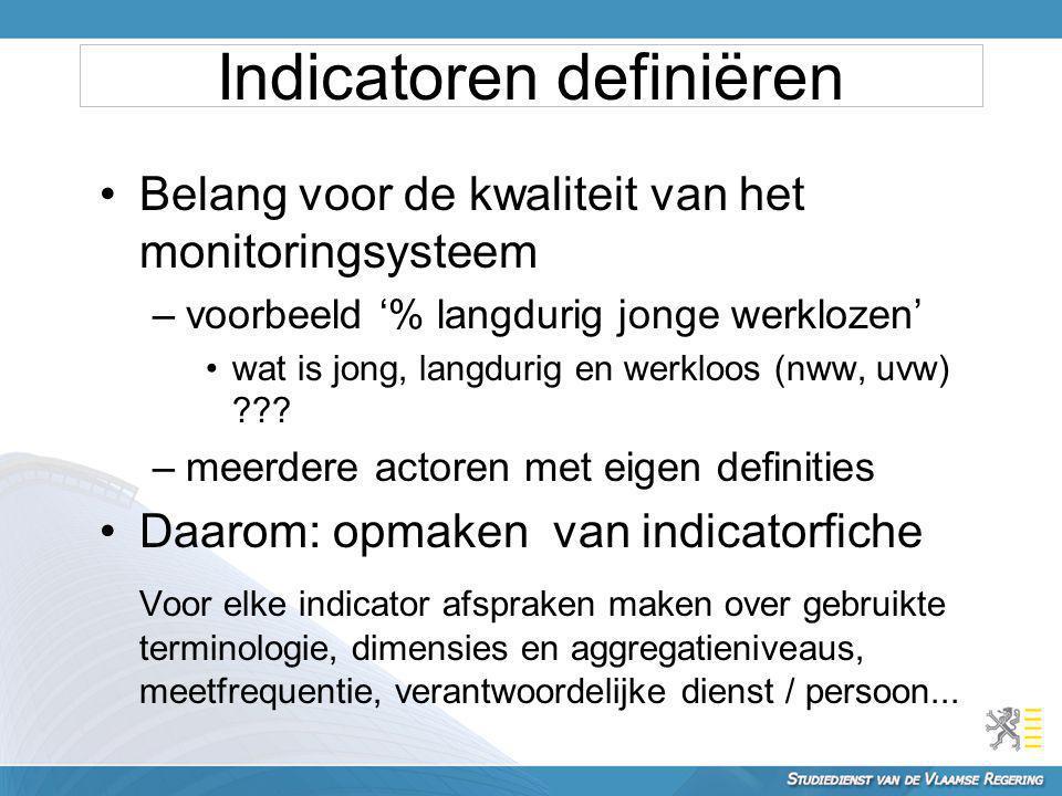 Belang voor de kwaliteit van het monitoringsysteem –voorbeeld '% langdurig jonge werklozen' wat is jong, langdurig en werkloos (nww, uvw) ??? –meerder